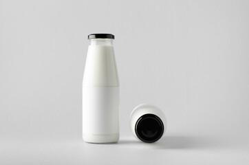 Milk Bottle Mock-Up - Two Bottles. Blank Label