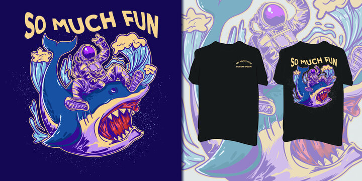 Astronaut riding wild shark illustration  for t-shirt