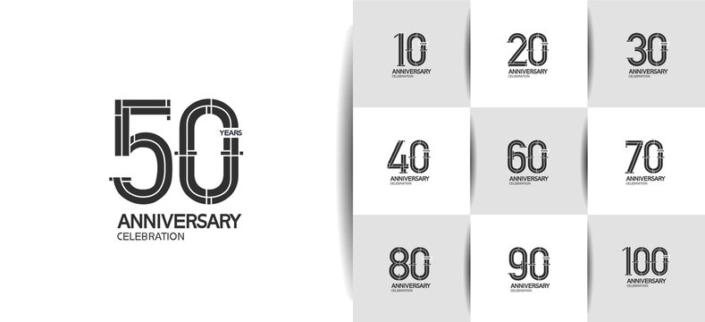 Anniversary logotype set with black color and ribbon. vector design for celebration purpose, greeting, invitation card
