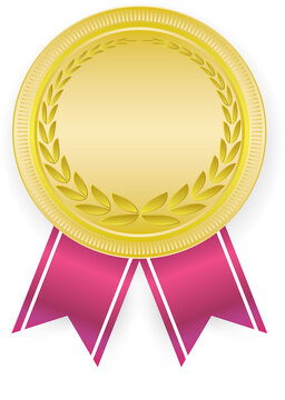 3D Gold blank medal and red ribbon. Empty winner award icon. Best choice badge. Vector illustration