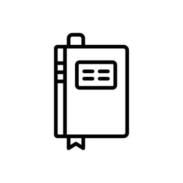 Black line icon for book