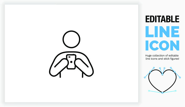 Editable line icon of a stick figure on his phone
