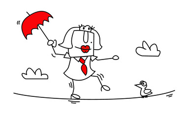 Agility is one of my skill. Karen the business woman is balancing on a rope. It is a metaphor of the agility of people.