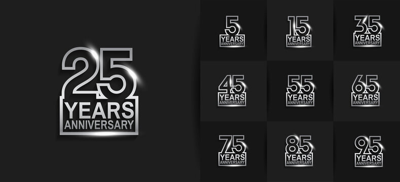 Anniversary logotype set with silver color on black background. vector design for celebration purpose, greeting, invitation card and special event