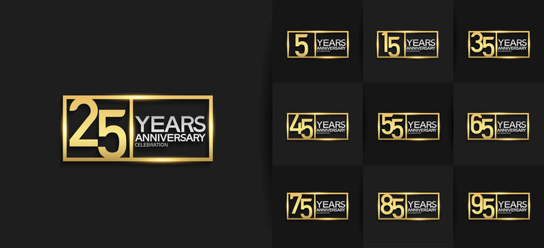 Anniversary logotype set with golden and silver color on black background. vector design for celebration purpose, greeting, invitation card and special event