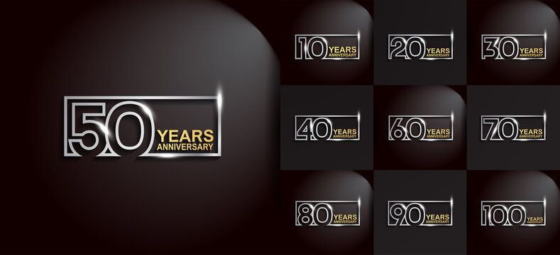 Anniversary logotype set with silver and golden color on black background. vector design for celebration purpose, greeting, invitation card and special event