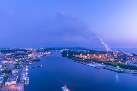 Factory Night view of Akita City from Akita Port Tower, Japan