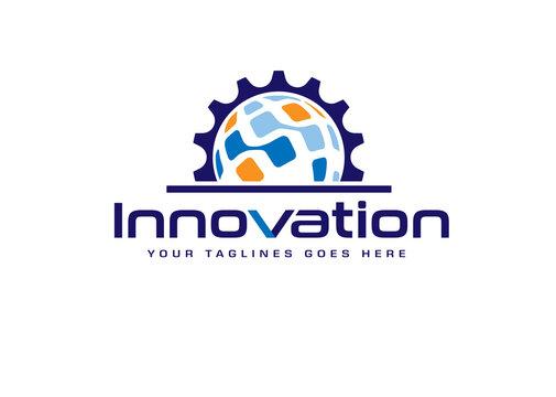Global technology gear concept business logo template design. Globe world and cogwheel mechanic logo sign
