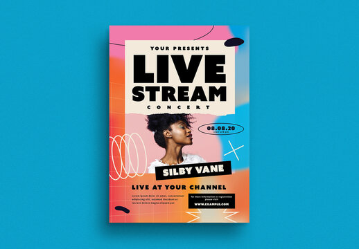 Holographic Live Stream Concert Flyer