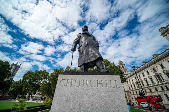 London- Winston Churchill statue on Parliament Square in Westminster