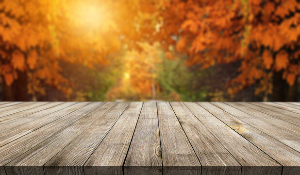 Wooden desk on autumn blur abstract natural background