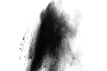 Black powder explosion isolated on white background.