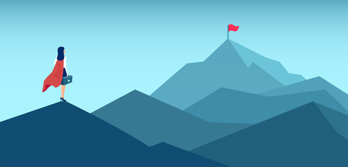 Vector of a super woman looking at her goal, mountain with flag on the top