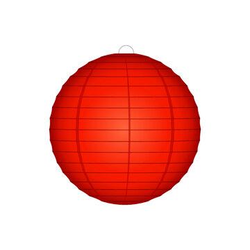 Asian Lantern, Glowing Lantern, Japanese Red Lantern, Hanging Light, Paper Lantern, Flying Lantern Vector Illustration