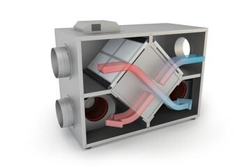 Fototapeta Air Recuperator with arrows. Filtration and ventilation system, 3D illustration obraz