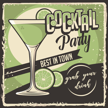 Cocktail Signage Poster Retro Rustic Classic Vector