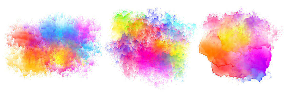 set of three watercolor splatter stains design