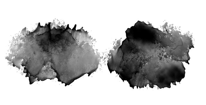 black ink stain watercolor texture design set of two