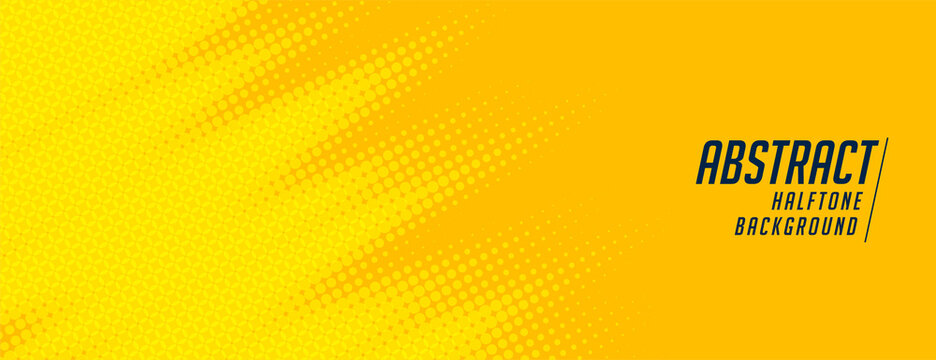 abstract yellow halftone wide elegant banner design