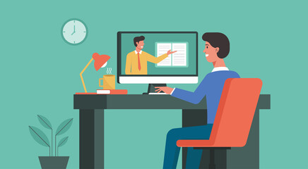 online education and distance learning concept, man using computer at home video conferencing to male teacher, vector flat illustration