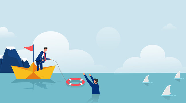 Business help other symbol with lifebuoys vector illustration. Bankruptcy and government bailout with businessman on paper boat and drowning man in life preserver.