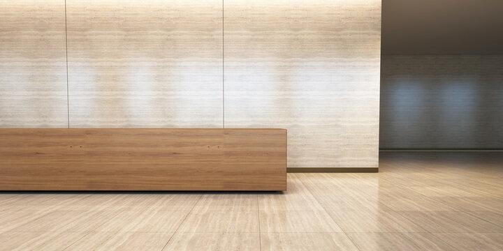 Front view reception desk office 3d rendering