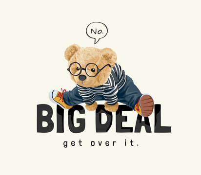vector illustration of cute bear cub jumping over big deal slogan