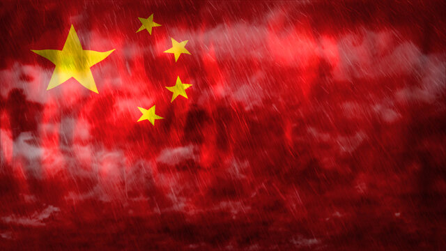 Composite of Flag of China and rain clouds. Symbolizing heavy rains, storms, typhoons and other bad weather in the country. 3d illustration