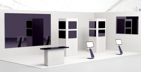 3D illustration with an exhibition booth