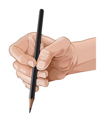 Isolated hand holding a pencil. Vector illustration