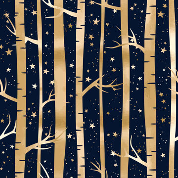 Vector seamless pattern with gold forest and stars. Night landscape with birches, trees and starry sky on blue background