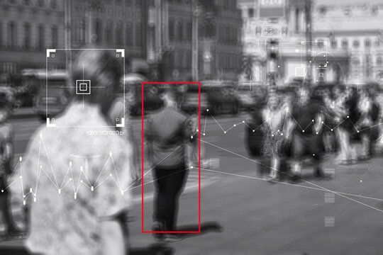 Face recognition and personal identification technologies in street surveillance cameras, law enforcement control.