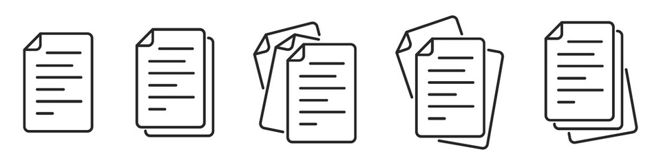 Paper documents icons. Linear File icons.