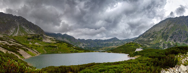 Panorama Tatra Mountains in Poland, The valley of 5 ponds