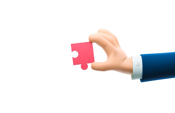 3d illustration. Cartoon businessman character hand holding a puzzle piece.