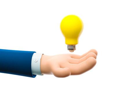 3d illustration. Cartoon businessman character hand holding a big bulb. Concept of creativity.