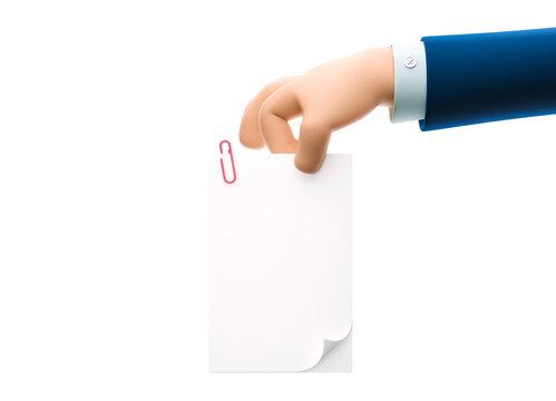 3d illustration. Cartoon businessman character hand holding document.