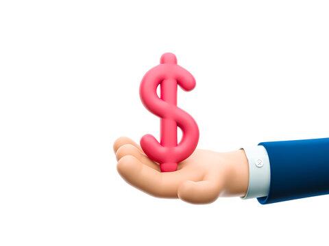 3d illustration. Cartoon businessman character hand holding a dollar sign.