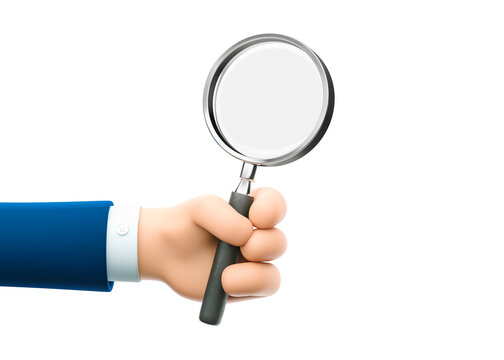 3d illustration. Cartoon businessman character hand holding a magnifying glass. Inspection, exploration, zoom, scrutiny, audit, analysis concepts.