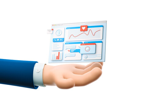3d illustration. Cartoon businessman character hand holding landing page. UI and UX concept.