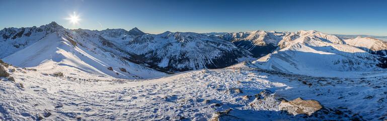 Stunning panorama of mount Kasprowy Wierch in winter, Poland