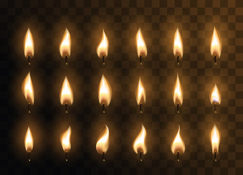 Candle animated flames with realistic flare texture isolated