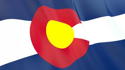 The flag of Colorado. Waving silk flag of Colorado. High quality render. 3D illustration