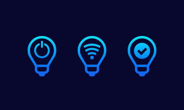 smart led light bulbs icons set
