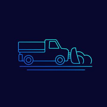 snow plow truck, vector line icon