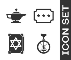 Set Unicycle or one wheel bicycle, Magic lamp or Aladdin, Ancient magic book and Ticket icon. Vector.
