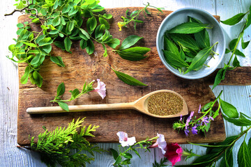 Provencal herbs on a spoon in the kitchen