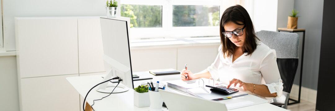 Accounting Bookkeeper Clerk Woman. Bank Advisor