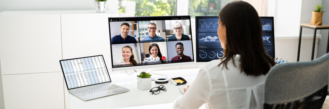 Watching Video Conference Business Webinar