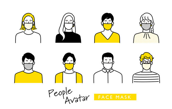 マスクを着用した若者男女 アイコンセット